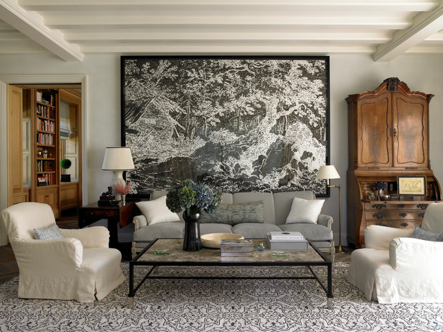 Example Of A Mid Sized Classic Formal And Enclosed Living Room Design In  New York