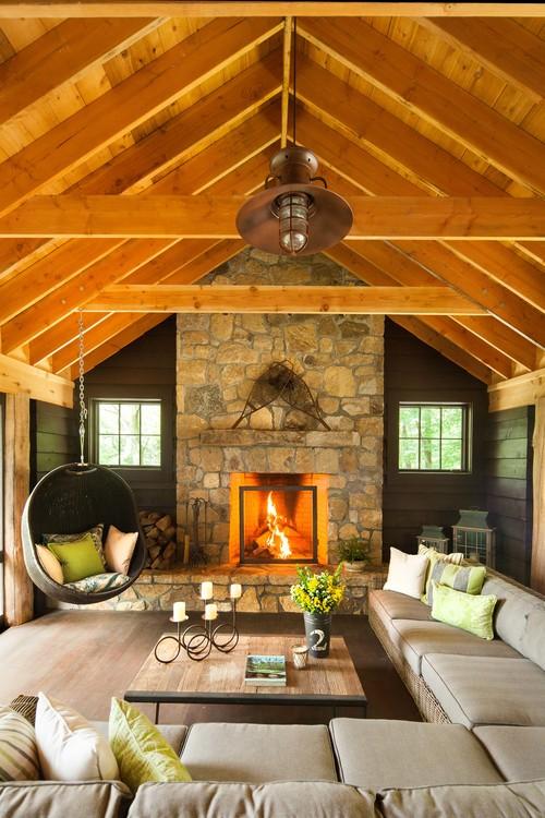 Houzz.com outdoor indoor furniture in a cabin