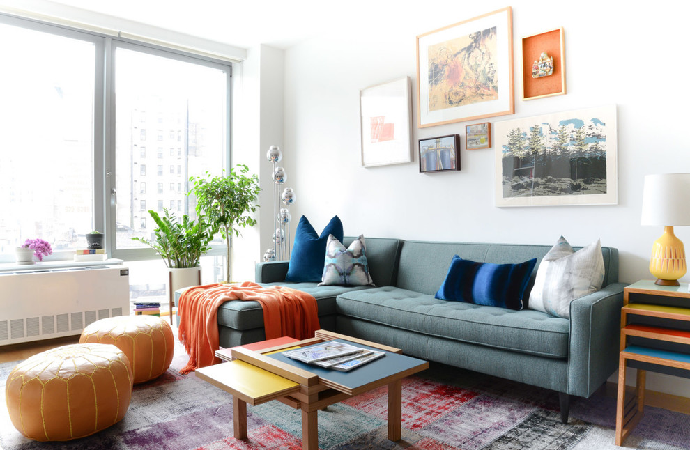 Living room - contemporary living room idea in New York with white walls
