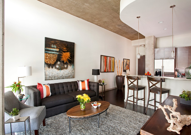 Example of a trendy open concept living room design in Dallas with white walls