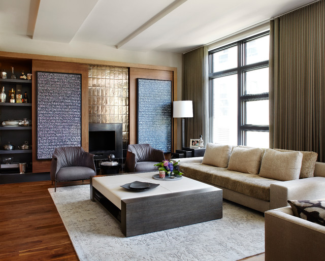 Inspiration For A Large Contemporary Living Room Remodel In Chicago With A  Standard Fireplace