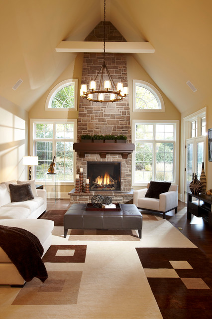 Example Of A Large Trendy Open Concept Living Room Design In Toronto With Beige Walls