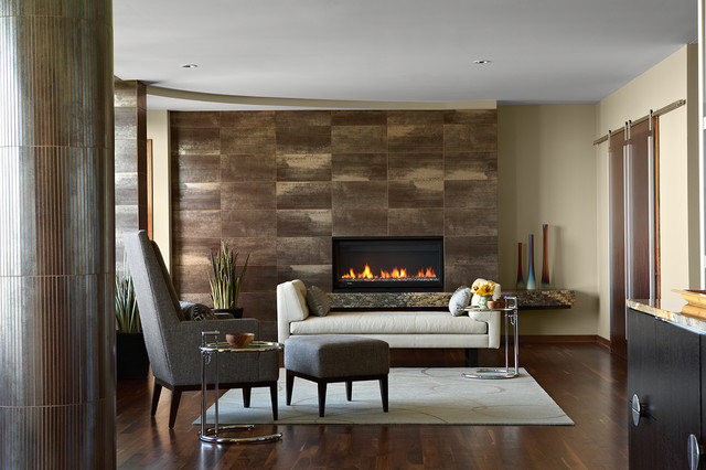 urban condo fireplace surround modern living room