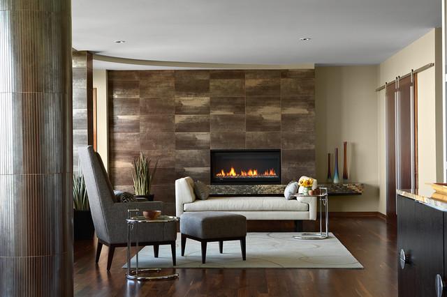 Urban condo fireplace surround modern living room for Showroom living room ideas