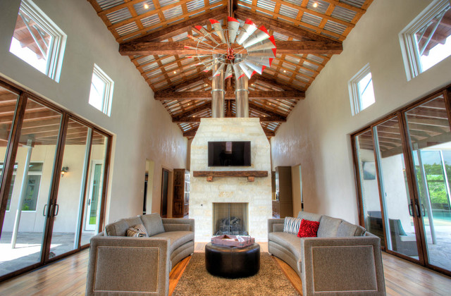 Inspiration For A Farmhouse Living Room Remodel In Austin With Gray Walls
