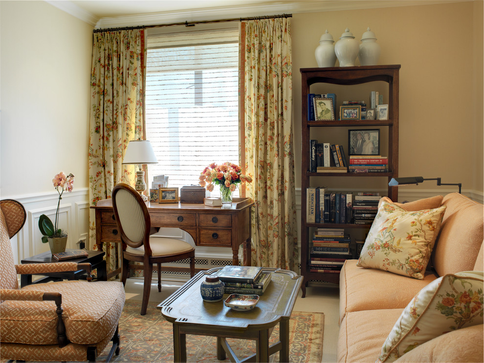 Inspiration for a timeless carpeted living room remodel in San Francisco with beige walls