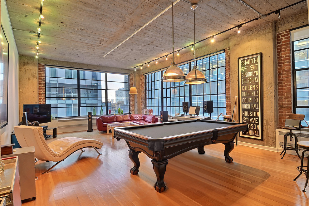 Urban Industrial Chic Loft Pool Table Room Setting Industrial Living Room Montreal By Palason Billiards