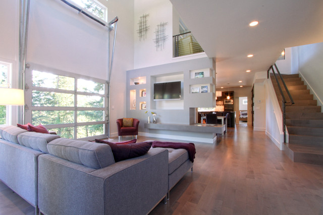 Urban Modern Living Space With Fire Station Style Garage