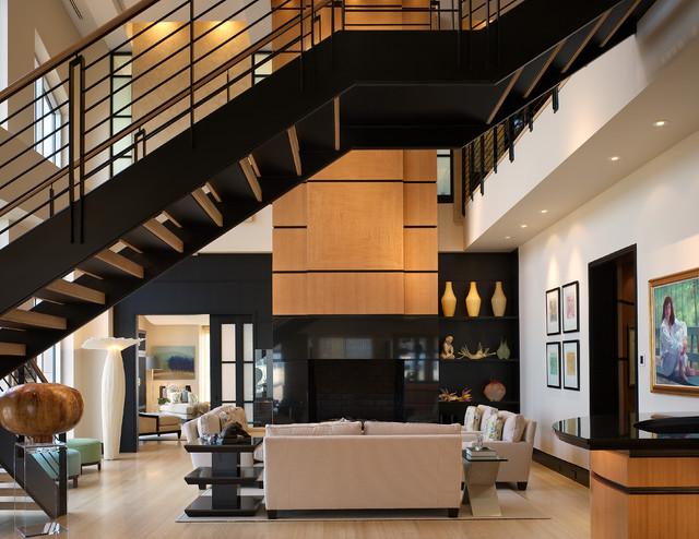 Charmant Inspiration For A Modern Living Room In Atlanta.