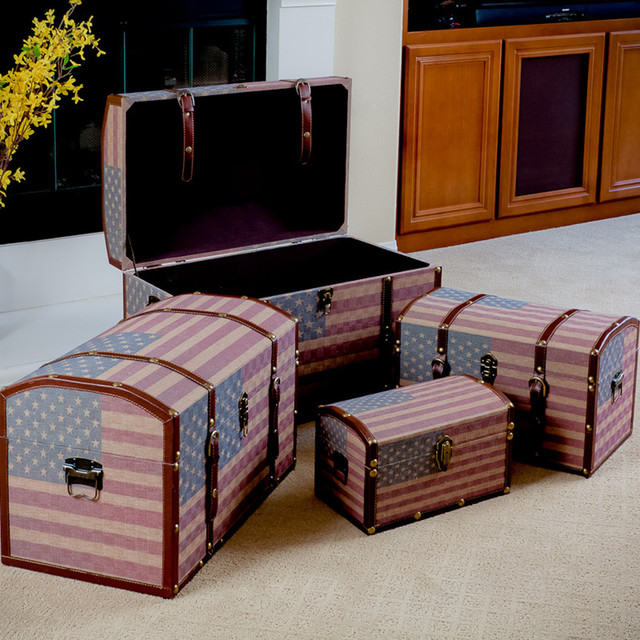Us flag decorative storage trunks modern living room - Decorative trunks and boxes ...