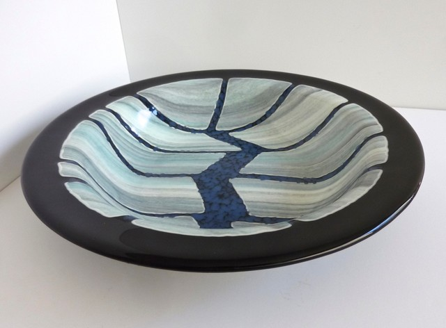 Exceptional Ustom Black Fused Glass Large Coffee Table Bowl Modern Living Room