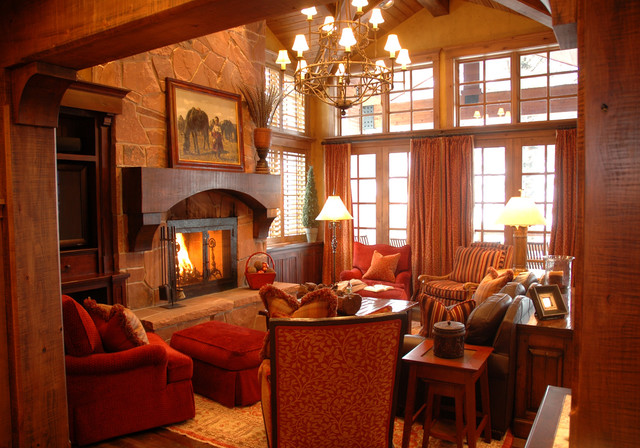 Utah Ski House traditional-living-room
