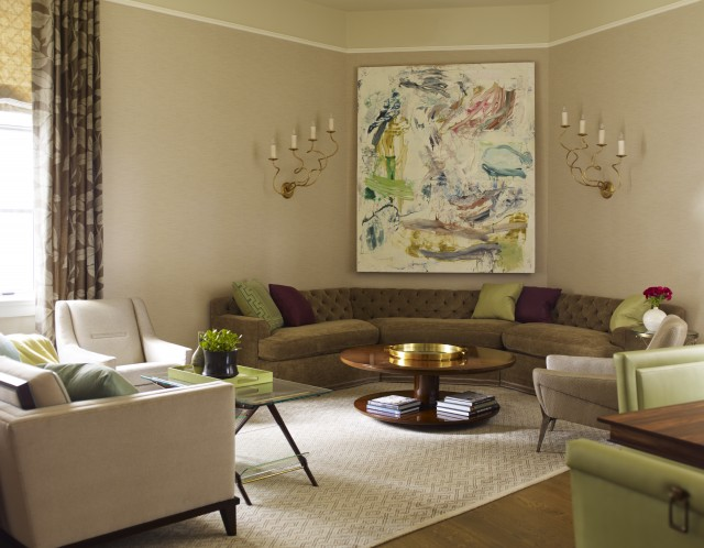 Superb Inspiration For A Contemporary Living Room Remodel In New York With Beige  Walls