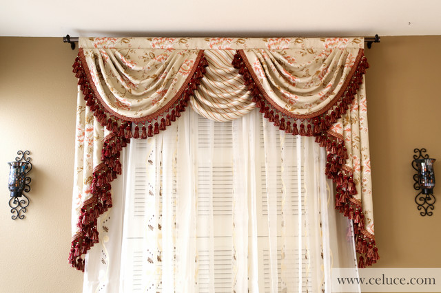 Valance curtains with swags and tails by for Living room valances