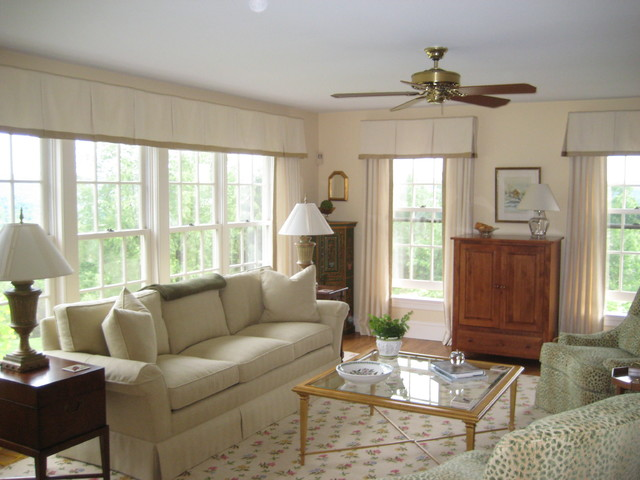 Valance transitional living room philadelphia by drapery design for Contemporary window treatments for living room