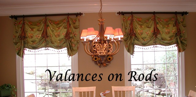 Valances On Rods Traditional Living Room