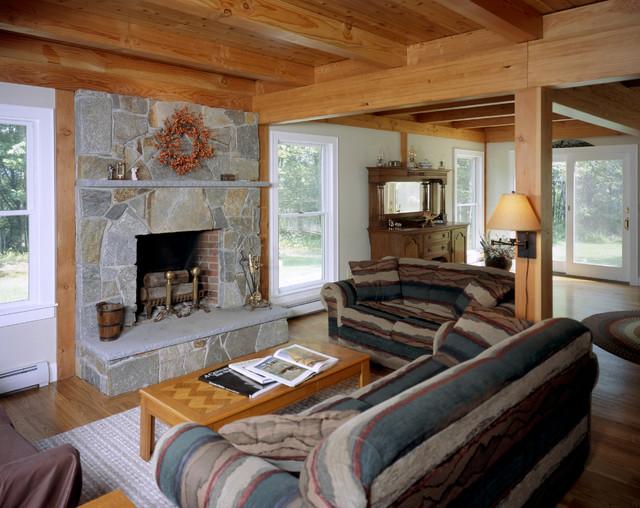 Valley Farmhouse Traditional Living Room Boston By Habitat Post Beam Inc