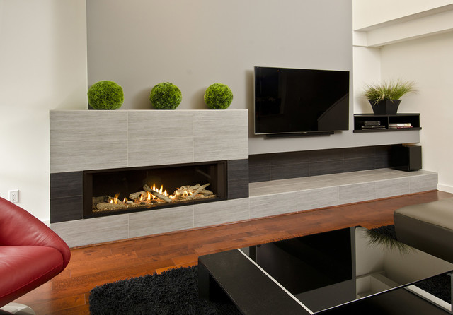 Living room - large modern open concept dark wood floor living room idea in Portland with gray walls, a ribbon fireplace, a tile fireplace and a wall-mounted tv