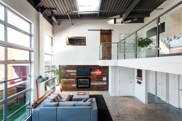 Vancouver Loft Vintage Modern Industrial Living Room Magnificent Basement Wall Design Example Concept