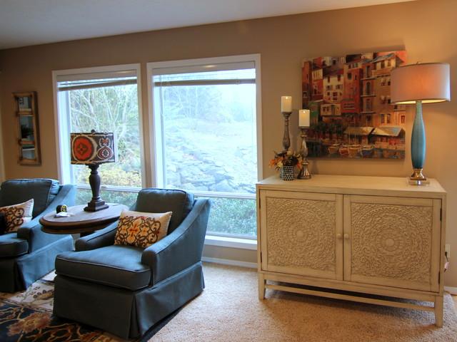 Vancouver transitional blue orange living room - Blue and orange living room ...