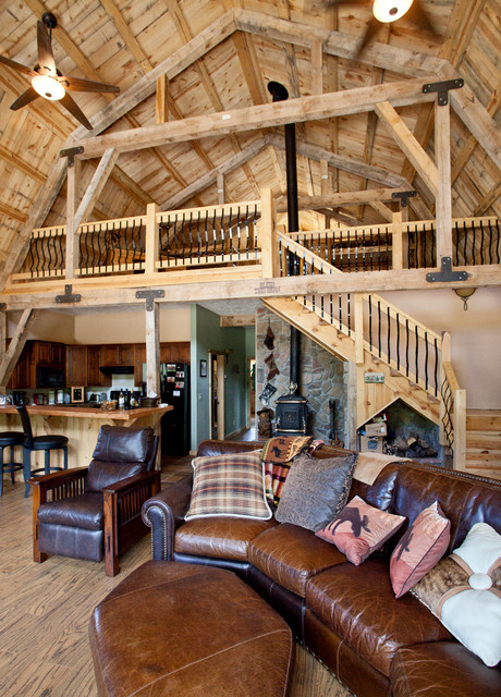 Various barn home interiors traditional living room Barn home interiors