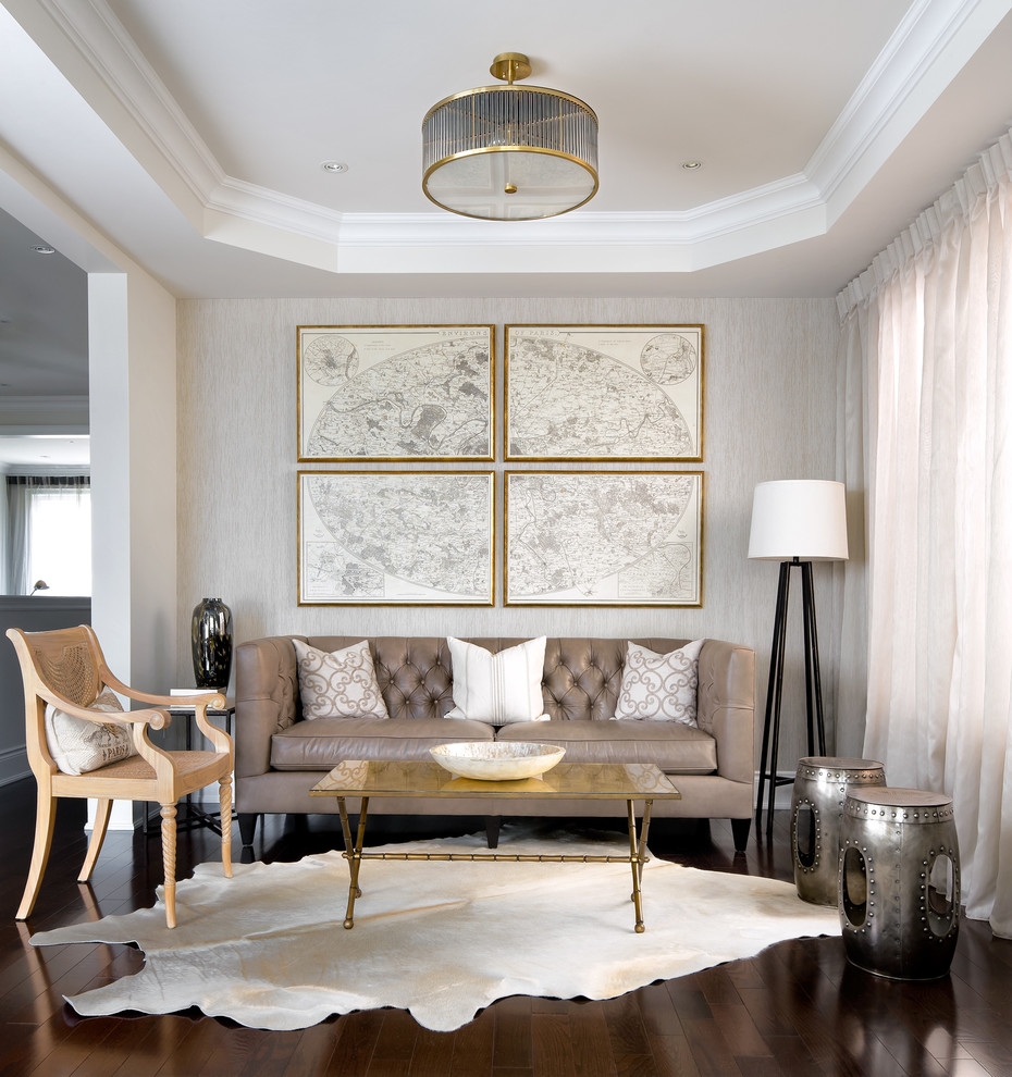Inspiration for a contemporary living room remodel in Toronto with gray walls