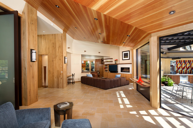Vaulted Ceilings In Vertical Grain Douglas Fir And 12 Foot Glass Pivot Doors Contemporary Living