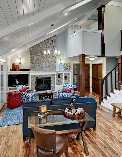 Awesome Large Mountain Style Living Room Photo In Minneapolis With White Walls, A  Standard Fireplace And