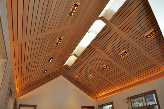 Vaulted Wood Ceiling Living Room