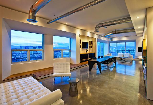 vegas loft industriel salon las vegas par vladimir radutny architects. Black Bedroom Furniture Sets. Home Design Ideas