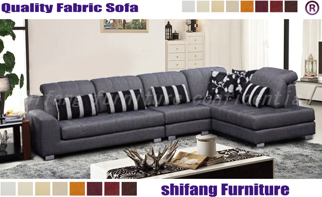 velvet fabric L shape sofa 1+3+chaise with fuctional headrest ...