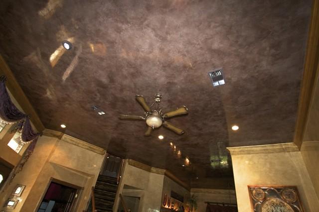 Venetian Plaster Ceiling Living Room traditional-living-room