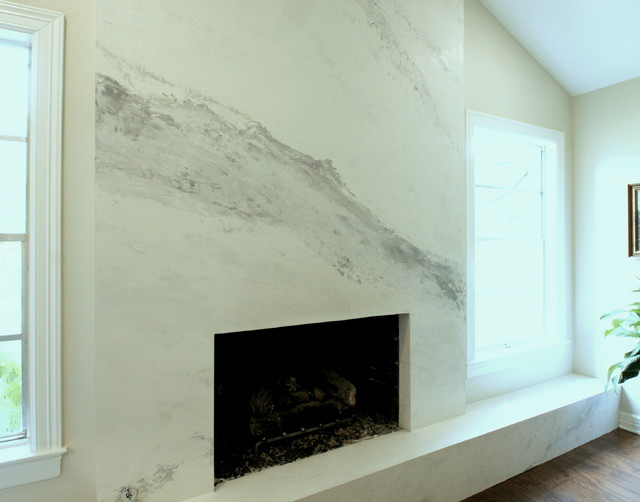 Venetian Plaster Fireplace Created To Imitate Calacutta Gold Marble Transitional Living Room