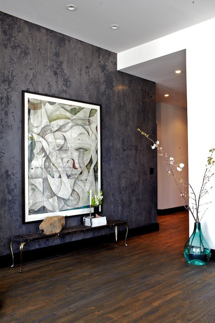 Venetian Plaster Modern Living Room New York By Kamp Studios