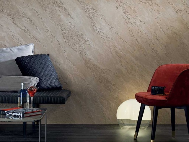 Venetian plaster living room walls modern-living-room