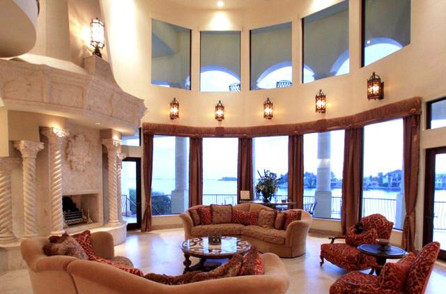 Venetian Style venetian style waterfront palazzo - mediterranean - living room