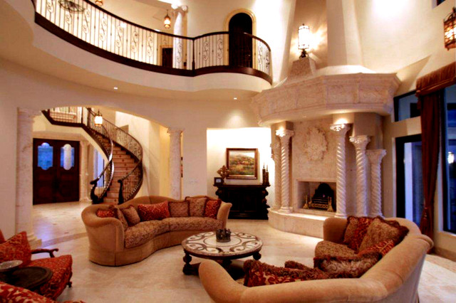 Venetian style waterfront palazzo mediterranean living room orlando by dream home design usa for Pictures for living rooms what is in style