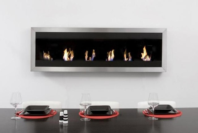 ventless smokeless decorative fireplace modern living room - Decorative Fireplace