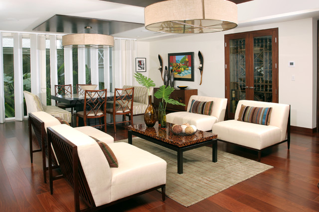 Example of a trendy living room design in Miami with white walls and no tv