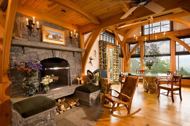 Vermont Timber Frame Residence Traditional Living Room