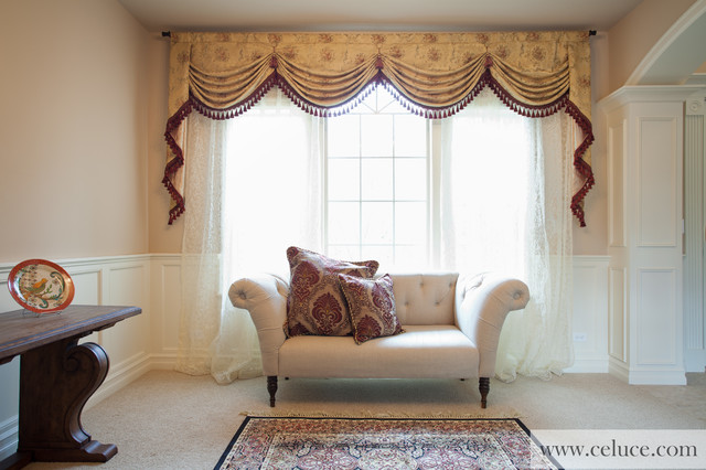 Versailles rose premium designer swag valances for Living room valances