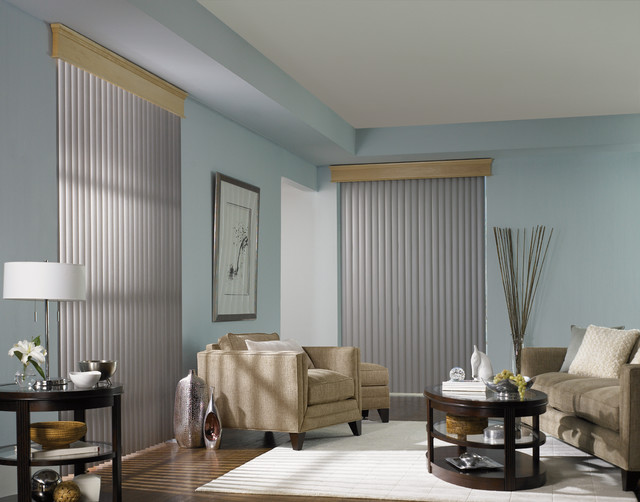 Vertical blinds with a wood cornice traditional living for Living room vertical blinds