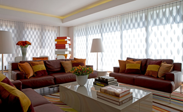 Vertical Wave Blinds Contemporary Living Room