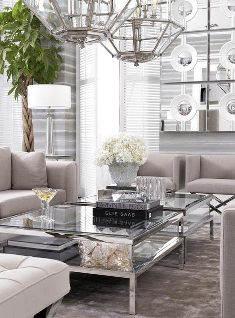 Very light and airy living area with eichholtz furniture for Very modern living room