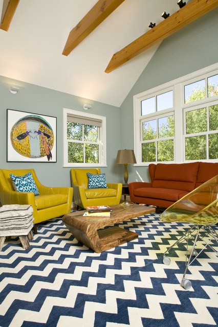 Vibrant family room grace home design eclectic for Home decor of 9671 inc