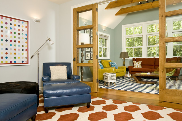 Vibrant family room grace home design eclectic for Eclectic home designs