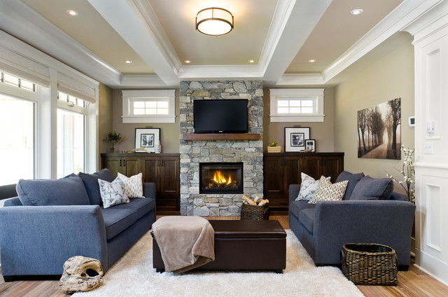 Victoria, BC Luxury Craftsman - Traditional - Living Room ...