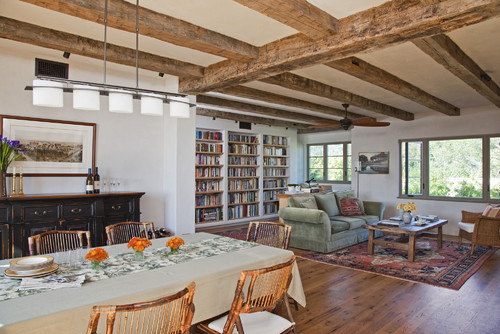 Can you use natural wood beams with white trim for Natural wood beams