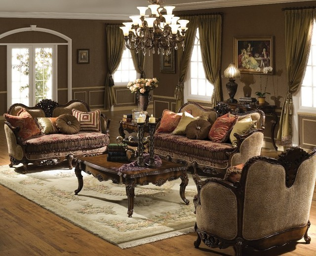 Victoria living room set traditional living room for Living room furniture collections