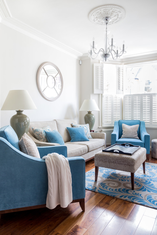 Living room - victorian formal living room idea in London with white walls